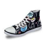 3D Print Suger Skull Men Women High Top Casual Canvas Shoes Skeleton Design Flat Sneakers Sports Shoes AK19007