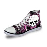 3D Print Suger Skull Men Women High Top Casual Canvas Shoes Skeleton Design Flat Sneakers Sports Shoes AK19003