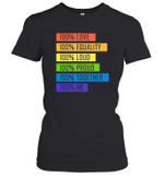 100  Love Equality Loud Proud Together 100  Me LGBT  Women's T-Shirt
