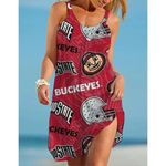 NCAAF Ohio State Buckeyes Sleeveless Beach Dress With Round Neck 006