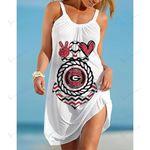 Ncaaf Georgia Bulldogs Print Sleeveless Beach Dress With Round Neck 029