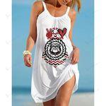 Ncaaf Georgia Bulldogs Print Sleeveless Beach Dress With Round Neck 030