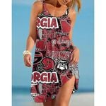 Ncaaf Georgia Bulldogs Print Sleeveless Beach Dress With Round Neck 027