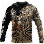 Camo Caribou Deer Hunting Hoodie T-Shirt Sweatshirt NM