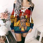 Vintage 3D Dream Bear Camping Lace-Up Sweatshirt 27