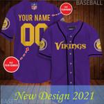 Personalized NFL Minnesota Vikings Baseball Jersey Shirt 66
