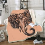 Elephant Sherpa Fleece Blanket