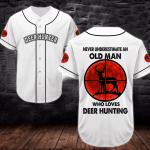 Deer White Baseball Shirt