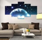 Night Sky Beautiful Scenery Nature 5 Pieces Canvas Unique Home Decor 35