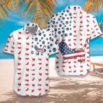 4th July Basset Hound American Flag Unisex Hawaiian Shirt