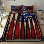 Amazing Vintage Baseball American Flag Duvet Cover Bedding Set #250221l