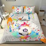 Colorful Soccer Watercolor Duvet Cover Bedding Set #250121l