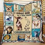 Dog lover God sent me a Chihuahua Quilt Blanket #V