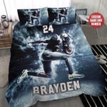 Football Player Smoke Stadium Personalized Duvet Cover Bedding Set with Your Name and Number #409H