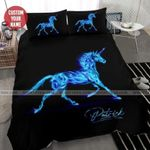 Galaxy Strong Unicorn Duvet Cover Bedding Set With Name #274l