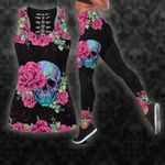Halloween -  Awesome Pink Rose Skull Black Hollow Tank Top - Legging 3D