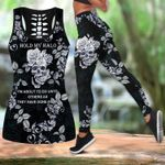 Halloween -  Gift for Mother Hold My Halo Black Skull Rose Hollow Tank Top - Legging 3D All Over Print #230321l