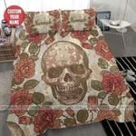 Halloween -  Skull with rose Personalized Duvet Cover Bedding Set with Name #0206l