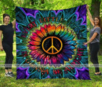 Hippie Sunflower Peace Everything is gonna be Alright All Season Quilt Throw Blanket #H