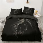 Horse Black Background Bedding Personalized Name Duvet Cover Bedding Set