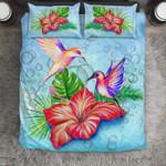 Hummingbird with hibiscus flower Duvet Cover Bedding Set