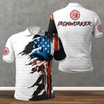 Ironworker American Skull Flag White Polo Shirt