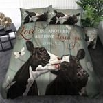 Love one another as I have loved you Couple Cow Duvet Cover Bedding Set