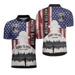 Master Baiter Fisherman Born To Fish American Angler Polo Shirt #V