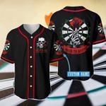 Skull Born To Dart Custom Name Baseball Jersey