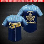Freemason Blue Custom Name Lodge Name And Number Baseball Jersey