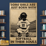 Some Girls Are Just Born With Softball In Their Souls custom name 2 Canvas Print #KV