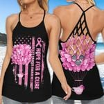 Butterfly Hope For A Cure Flag Breast Cancer Cross Tank Top or Legging 3D #KV