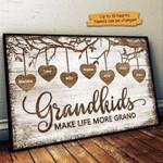 Grandkids make life grand custom name Canvas Print #KV