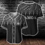Samoa Polynesian B&W Heartbeat Baseball Jersey
