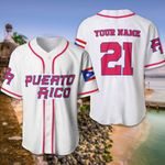 Puerto Rico White Custom Name And Number Baseball Jersey