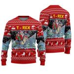 Santa Riding T-Rex Ugly Christmas Sweater