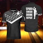 Personalized name Black & White Bowling spare swear drink repeat polo shirt