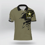 Simple US Army Crack Olive Military Color Polo Shirt