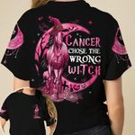 Witch Horse Cancer Chose The Wrong Halloween Unisex T-Shirt 3D #KV