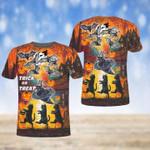 Trick or Treat Spooky Black Cat Halloween Unisex T-Shirt 3D #KV