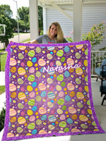 Personalized Name Colorful Egg Happy Easter Quilt Purple Blanket