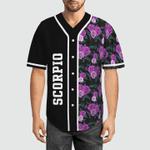 Scorpio Zodiac with Tropical Flowery 3D Baseball Jersey #H