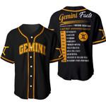 Gemini Awesome Zodiac Facts 3D Baseball Jersey #310521L