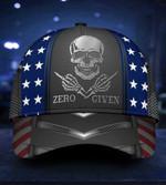 Skull American Flag Zero F*ck given Classic Cap hats head wear #V
