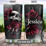 Skull Rose Steel Tumbler with Your Name #KV