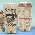Sewing Is My Therapy custom name Steel Tumbler #KV