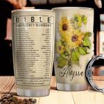 Sunflower Bible emergency Number custom name Steel Tumbler #KV