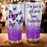 Purple Butterfly just a girl love Butterfly custom name Steel Tumbler #KV