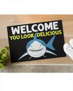 Shark You Look Delicious Door mat #KV