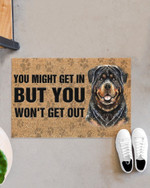 Rottweiler you might get in but you won't get out Door mat #KV